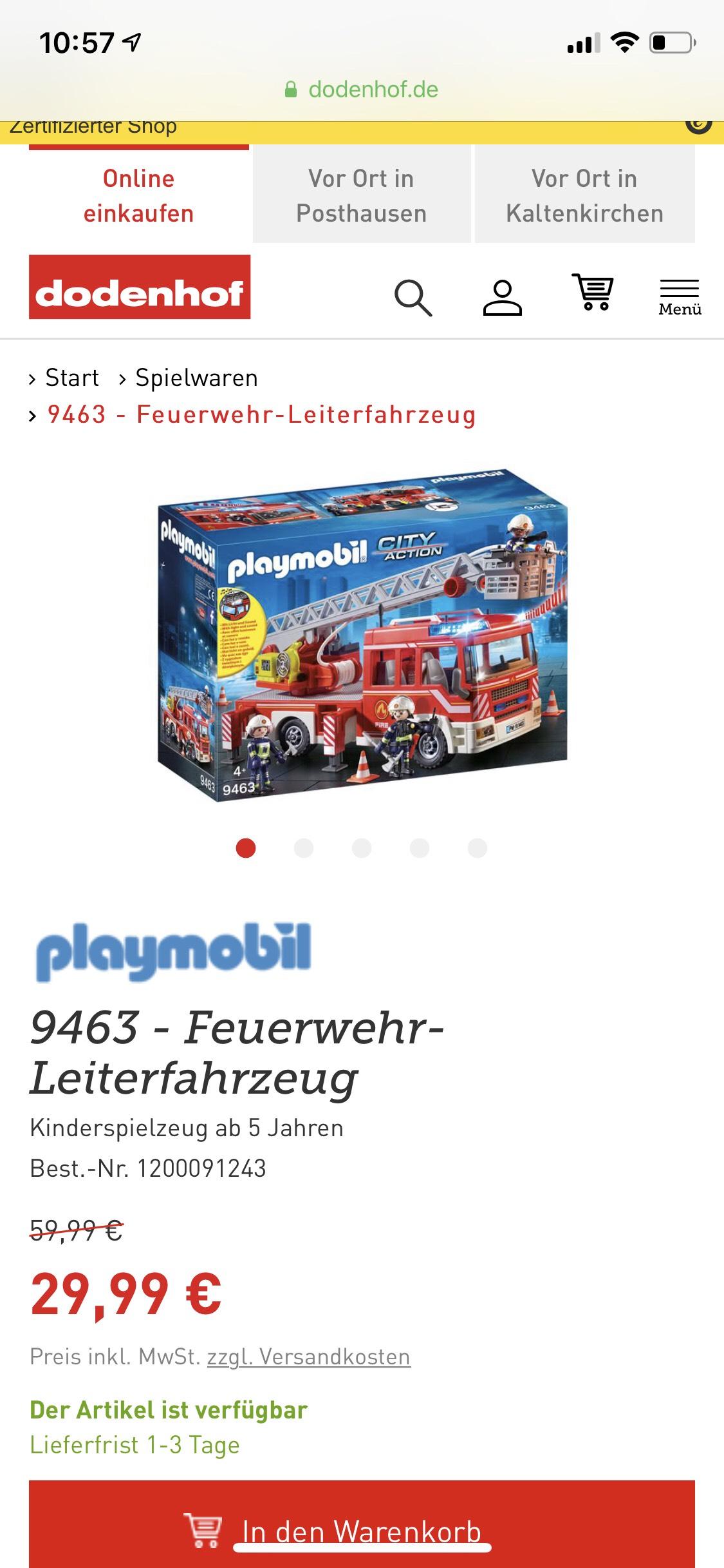 Playmobil stark reduziert - z.B. Playmobil City Action Feuerwehr Leiterfahrzeug, bei dodenhof