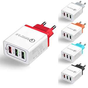 Quick Charge 3.0 USB Ladegerät 3 Ports in 5 Farben