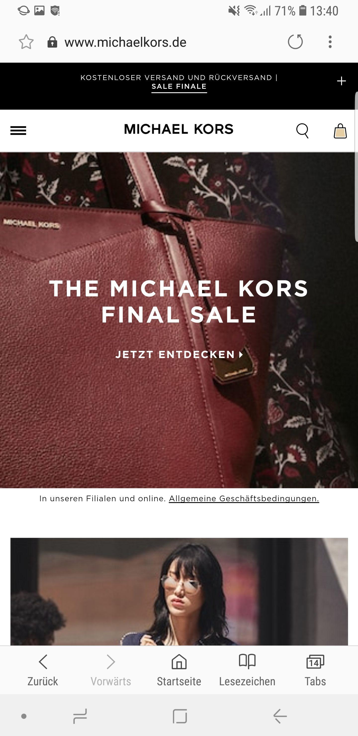 Final Sale Michael Kors Beispiel im Deal