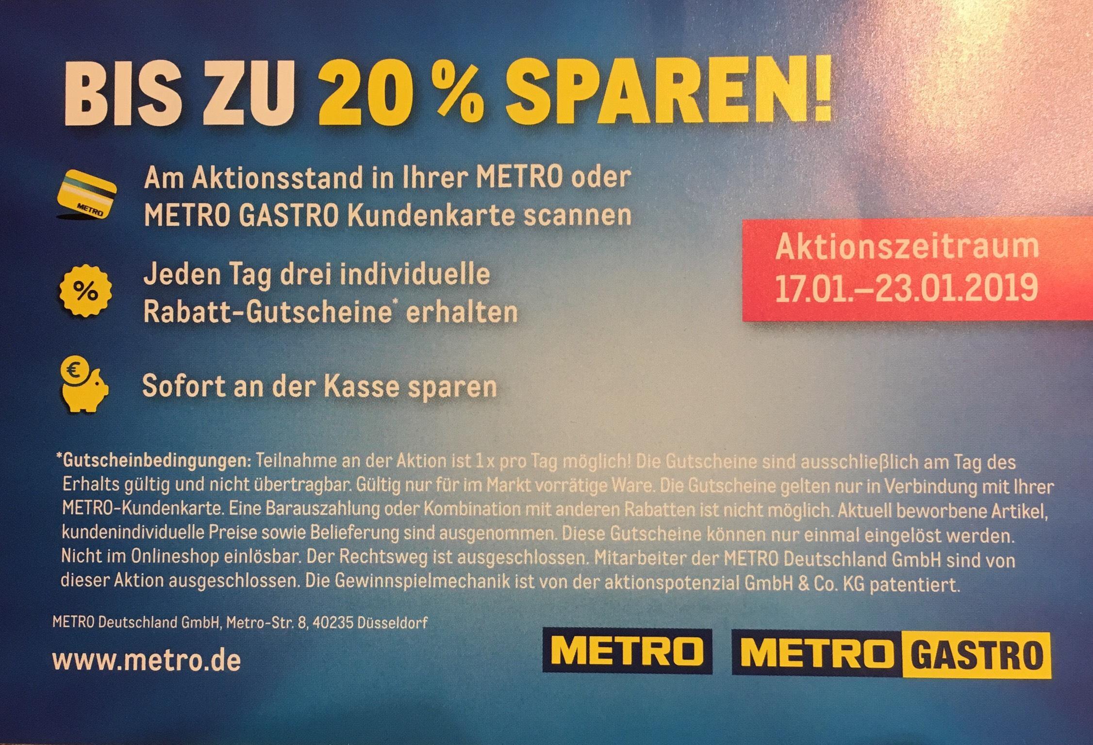Bis zu 20% Rabatt bei Metro