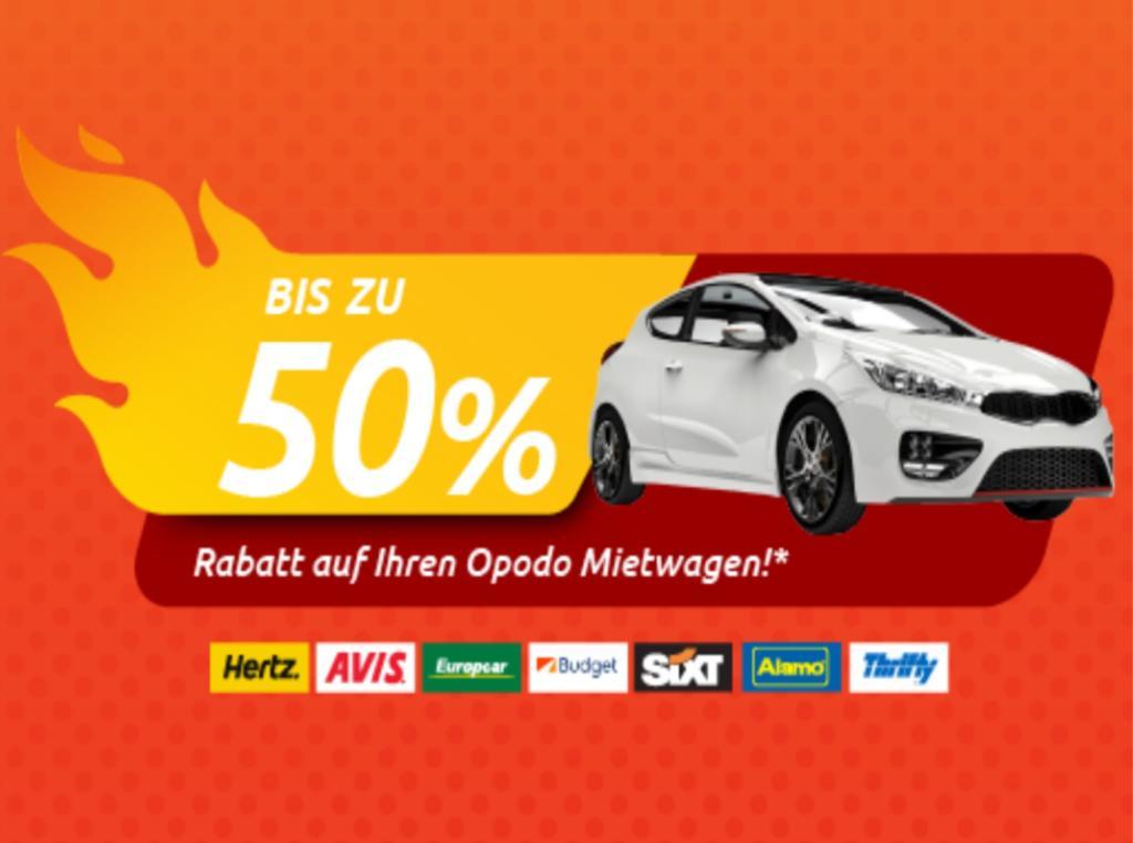 60% Rabatt auf Mietwagenbuchung bei Opodo (Max. 2 Tage)