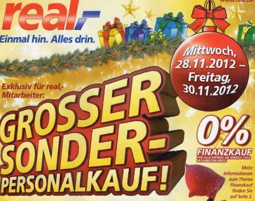 Grosser Sonder-Personalkauf 28.11-30.11 mit vielen Angeboten und 0% Finanzierung @Real