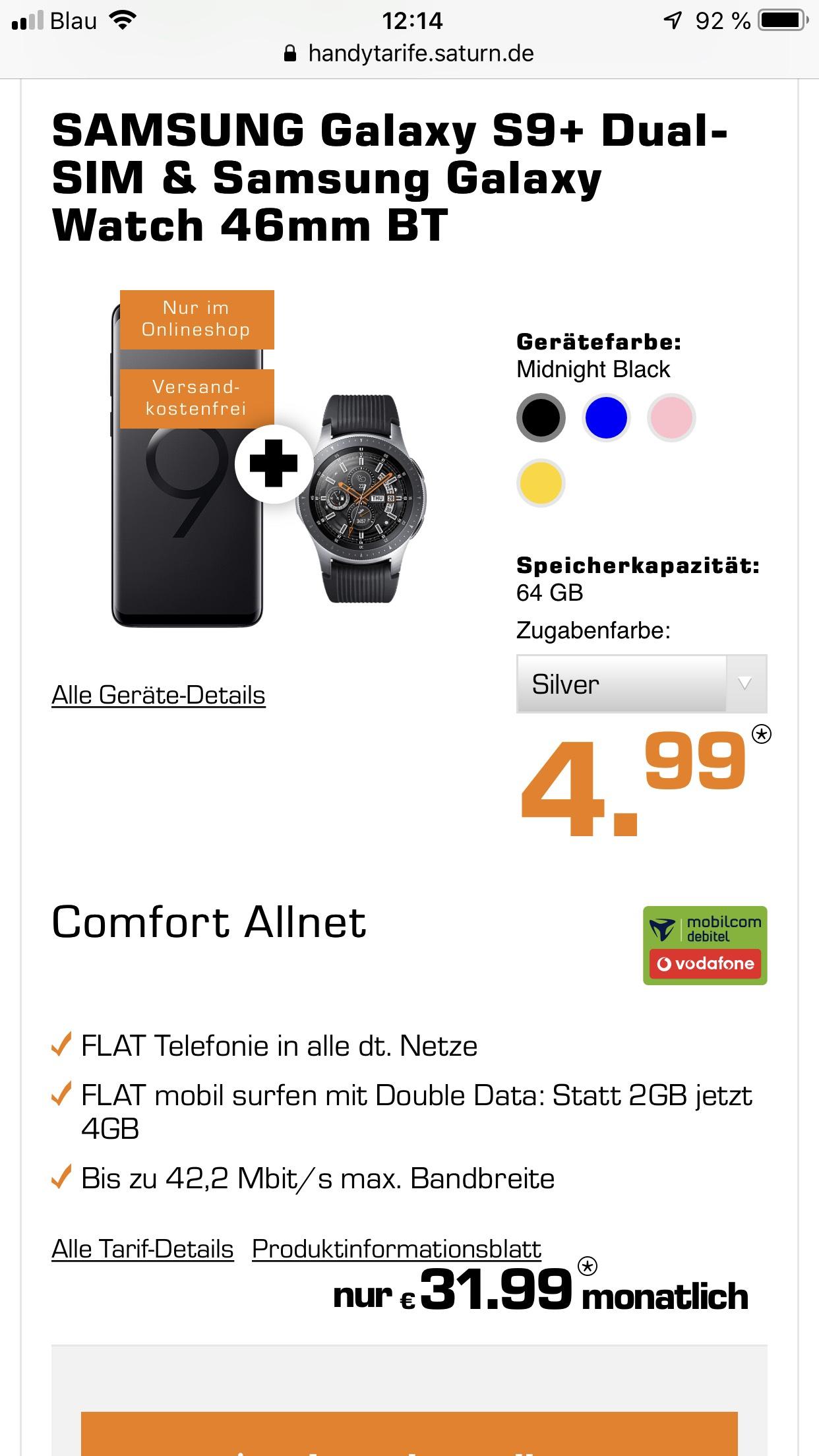 SAMSUNG Galaxy S9+ Dual-SIM & Samsung Galaxy Watch 46mm BT