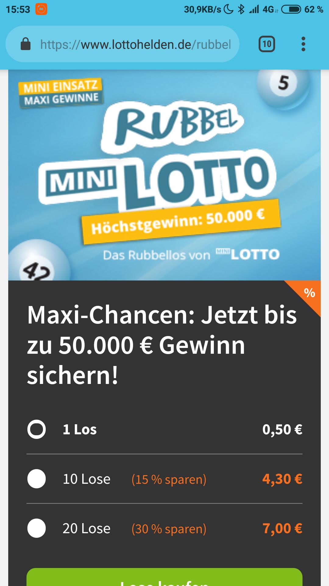 [Lottohelden] MiniLotto Rubbellose bis zu 30% günstiger