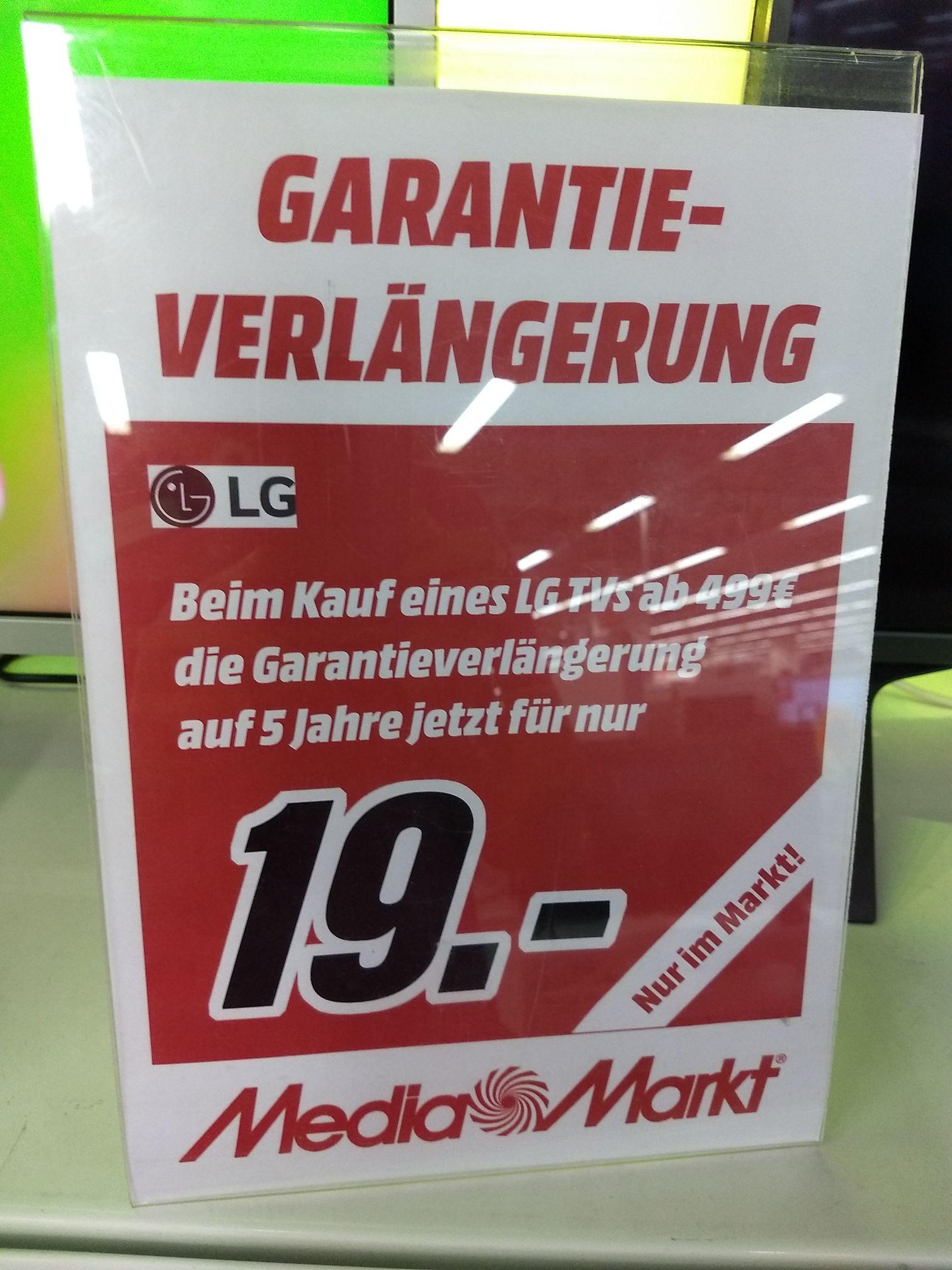 Media Markt bundesweit Garantieerweiterung auf 5 Jahre für LG TVs ab 499€