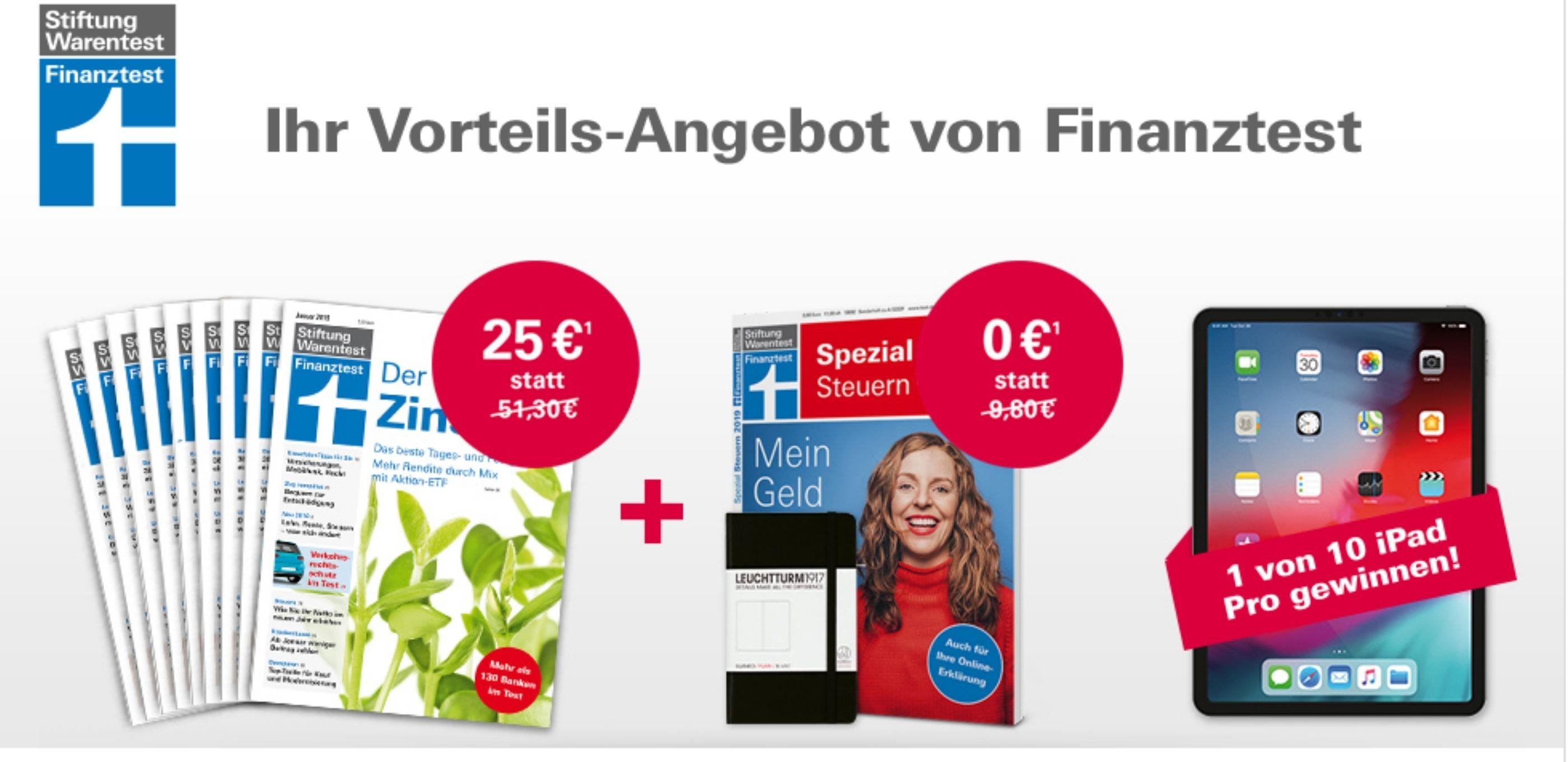 [Stiftung Warentest] 9 x Finanztest + Spezial Steuern 2019 + Notizbuch von Leuchtturm