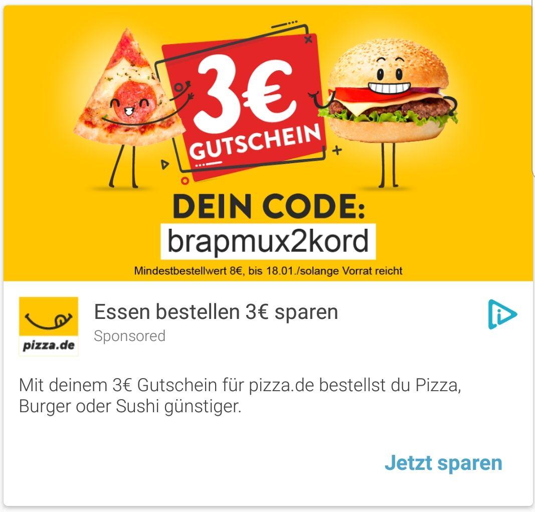 3€-Gutschein von pizza.de (8€ Mindestbestellwert)