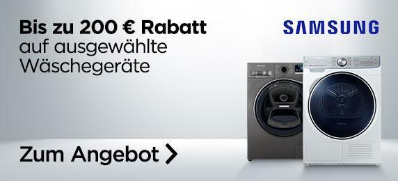 Diverse Samsung-Waschmaschinen und Trockner zu Bestpreisen. Bspw.: Samsung Waschmaschine WW70K4420YW/EG für 389 Euro statt 440 Euro.