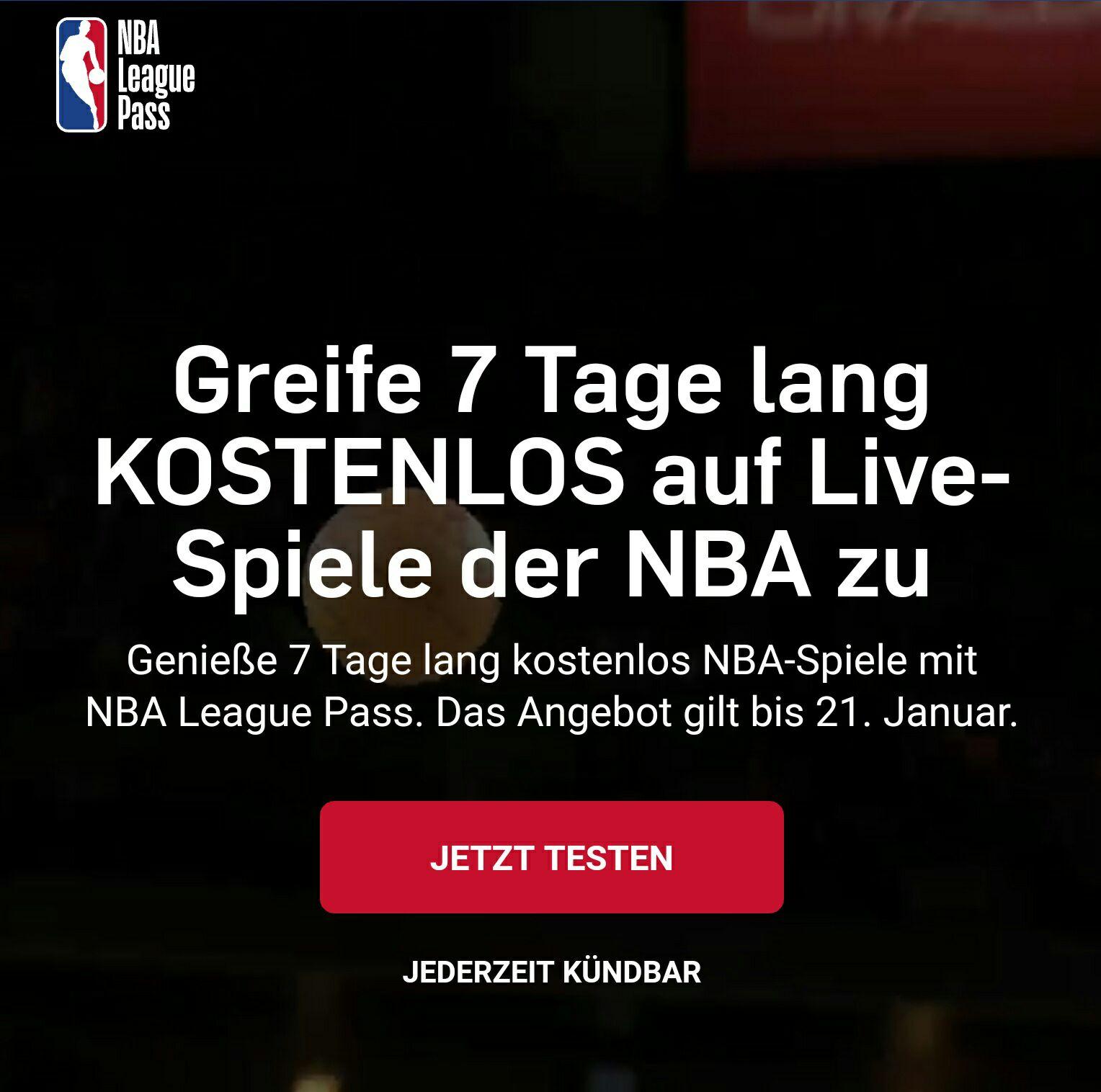 NBA League Pass - 7 Tage kostenlos - Kündigung notwendig