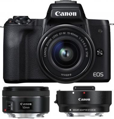 Canon EOS M50 DSLM Systemkamera im Kit mit EF-M 15-45mm + EF M Adapter + EF 1.8 50mm für 749€ + 50€ Cashback