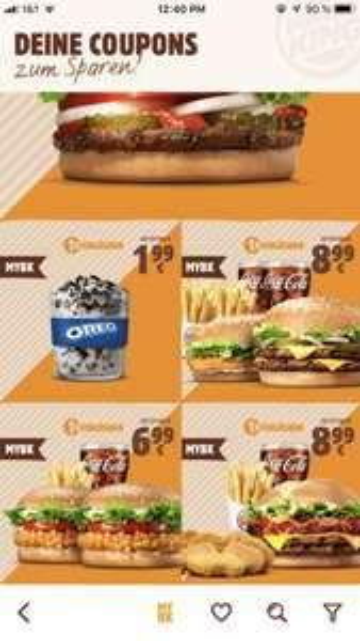 Whopper Jr. , King Fusion Oreo und weitere Coupons MYBK ( Burger King App)