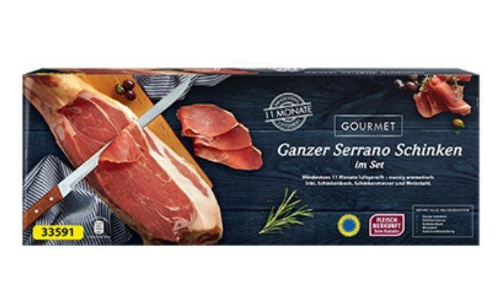 [Lokal Stuttgart] Gourmet Ganzer Serrano Schinken 6,5 kg mit Messer,  Wetz