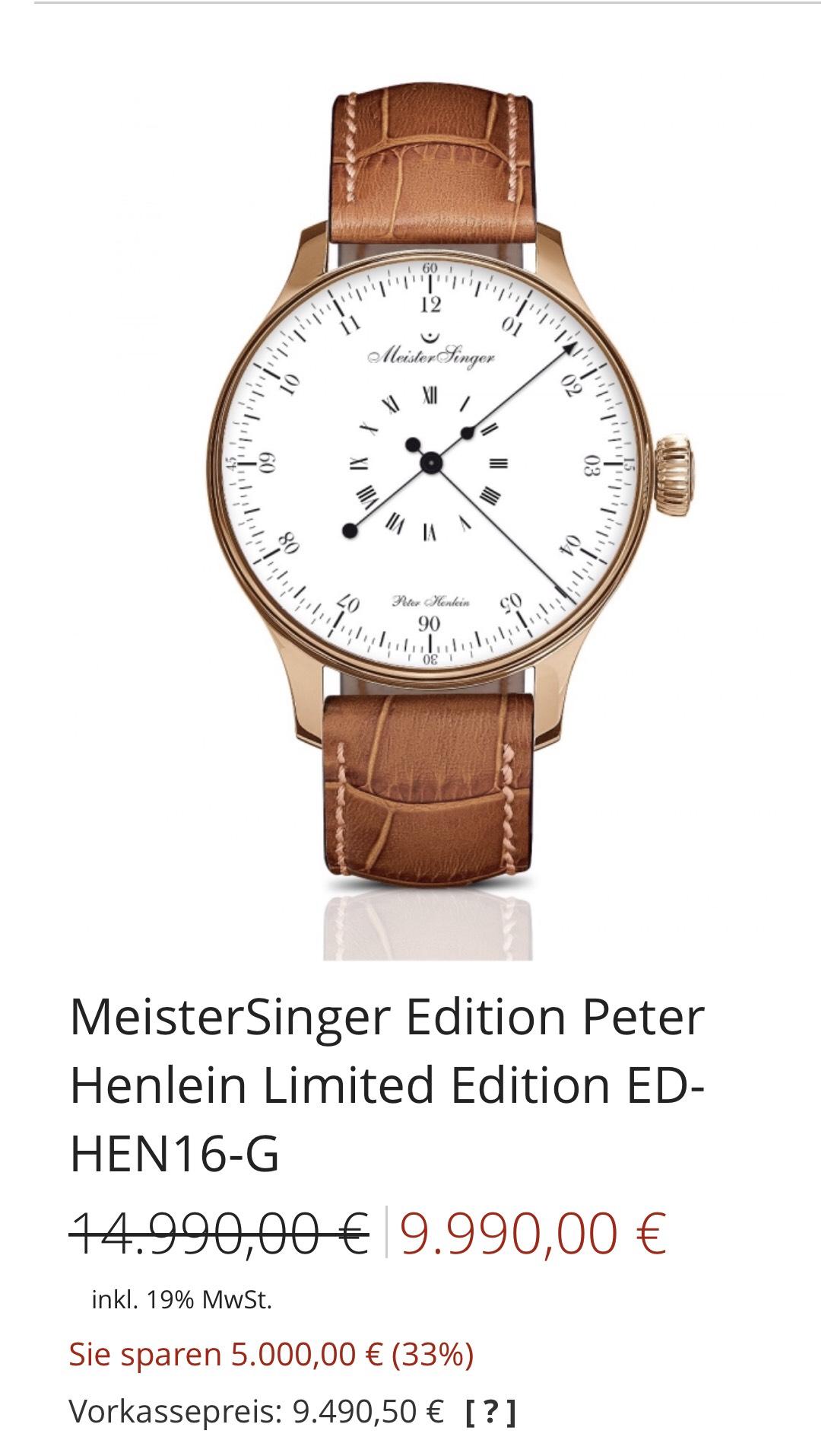 MeisterSinger Edition Peter Henlein Limited Edition ED-HEN16-G Herrenuhr