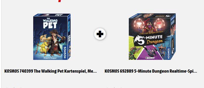 [Mediamarkt] KOSMOS 692889 5-Minute Dungeon Realtime-Spiel, Mehrfarbig + KOSMOS 740399 The Walking Pet Kartenspiel, Mehrfarbig für 17,-€