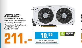 [Saturn] Asus Dual-GTX1060-O6G Gaming Nvidia GeForce Grafikkarte (PCIe 3.0, 6GB GDDR5 Speicher, HDMI, DVI, Displayport) für 211,-€