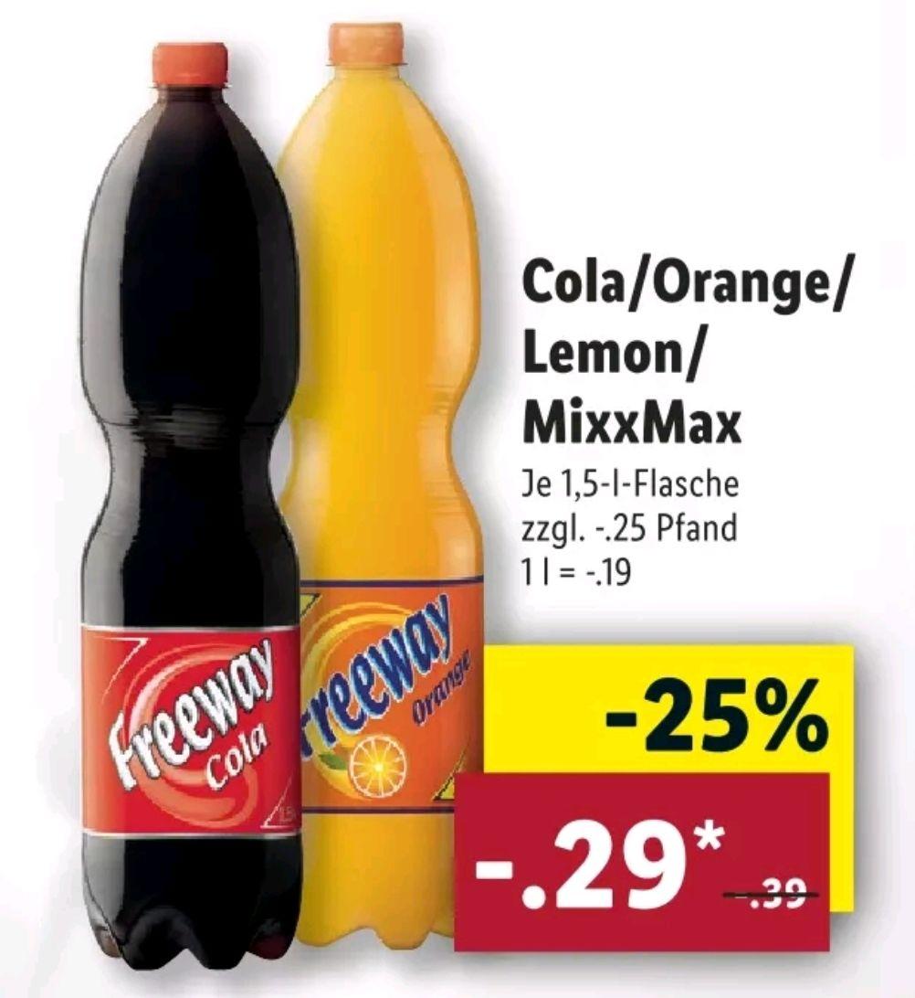 [Lidl] ab 21.01 Freeway Cola/Orange/Lemon/MixxMaxx 1.5L für je 0.29€