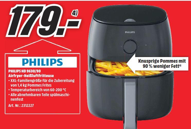 [Mediamarkt ab 20.00 Uhr] Philips HD9630/90 Airfryer XXL, (Heißluftfritteuse, für 4-5 Personen, 1400g) schwarz für 179,-€