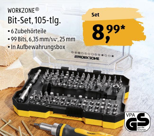 Workzone Bit-Set + Ratschen-Schraubendreher, 105-teilig [Aldi Süd]