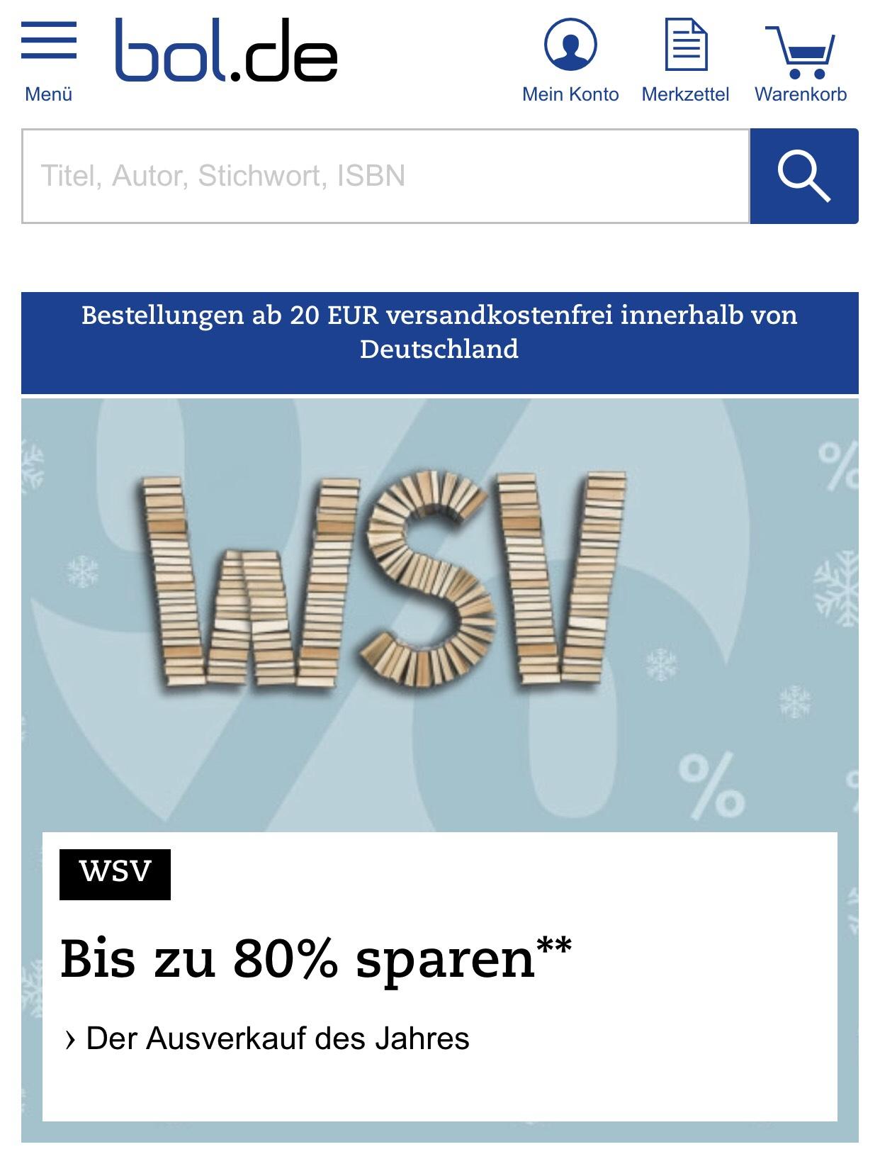 17% auf alles außer Bücher [bol.de]