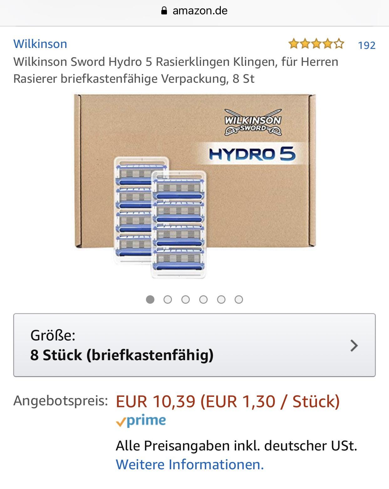 [Amazon] Wilkinson Sword Hydro 5 Rasierklingen 8Stk.