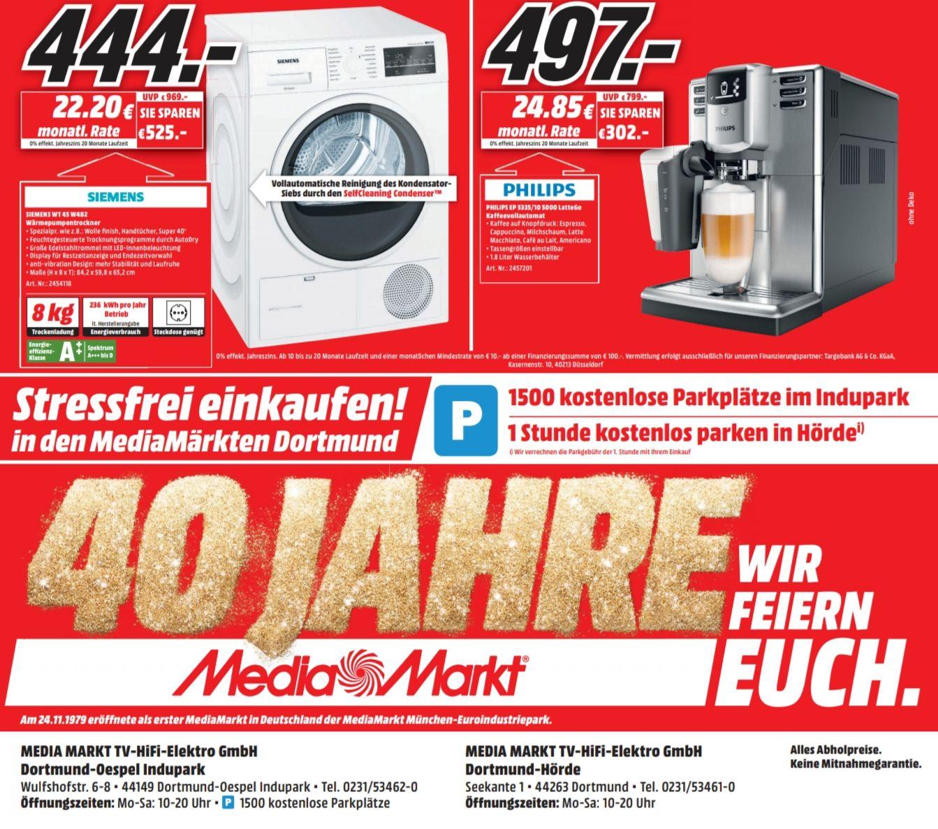 [LOKAL Media Markt Dortmund] Philips EP5335/10 Latte Go Kaffeevollautomat 497€ // Siemens WT45W4B2 Wärmepumpentrockner A++ 444€