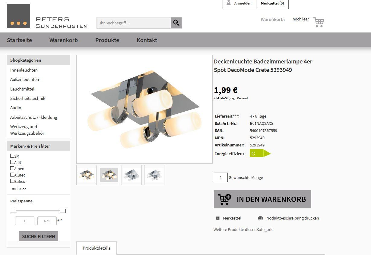 Viele Lampen jeweils für 1,99€ + einmalig 5,99€ Versand