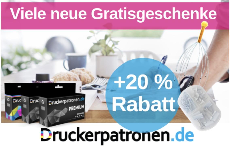20% Rabatt auf alles bei druckerpatronen.de + gratis Versand