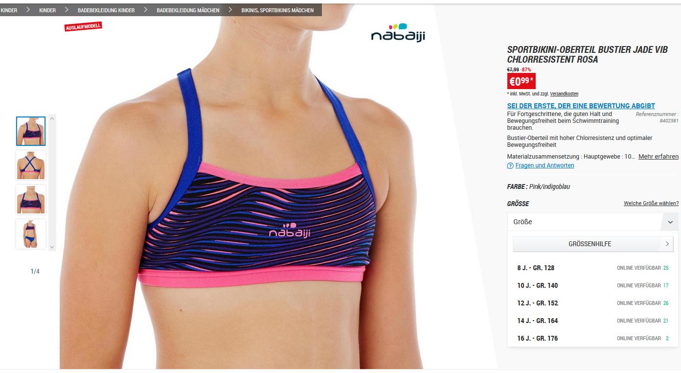 [Decatlon] Günstige Badebekleidung für Kinder (Auslaufmodelle), z.B. Bikini für 1,98€