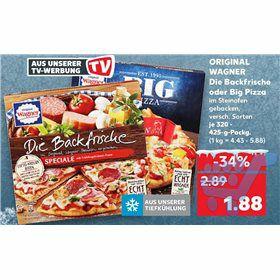 Wagner Big Pizza für 1,88€ bei Kaufland (-0,45€ Cashback bei Marktguru)