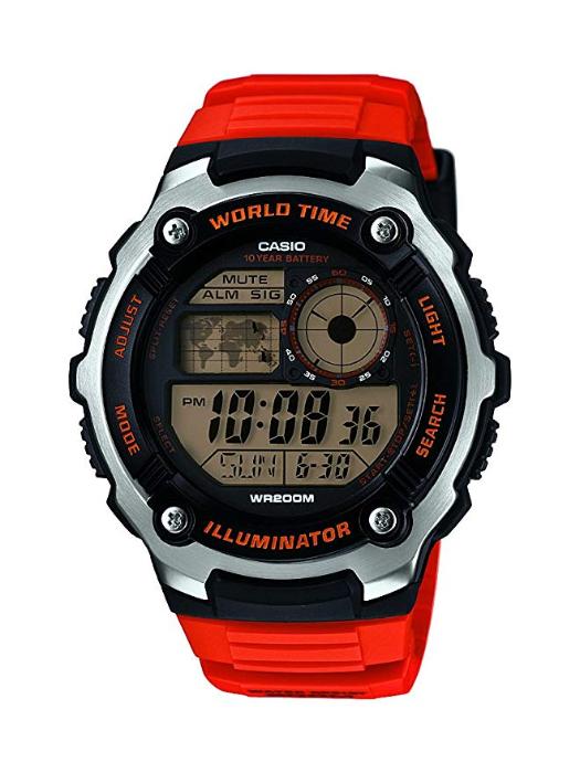 [Amazon.es] Casio World Time AE-2000WD-1AVEF Digitaluhr für Herren Mit Beleuchtung (nur noch in rot zu dem Preis)