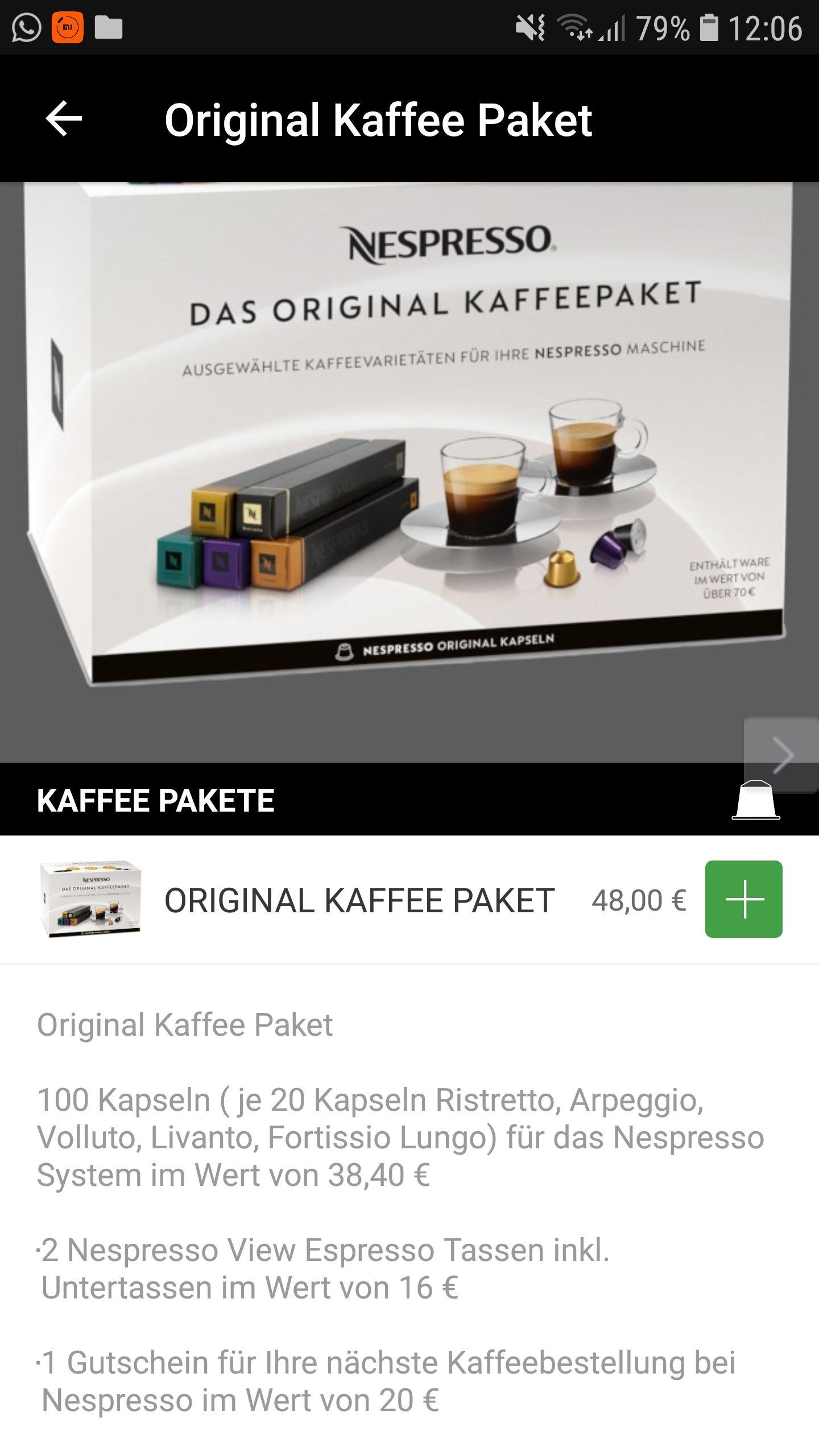 [nespresso online] Nespresso Original Kaffee Paket inkl. 20,- Euro Gutschein und 2x Espressotassen