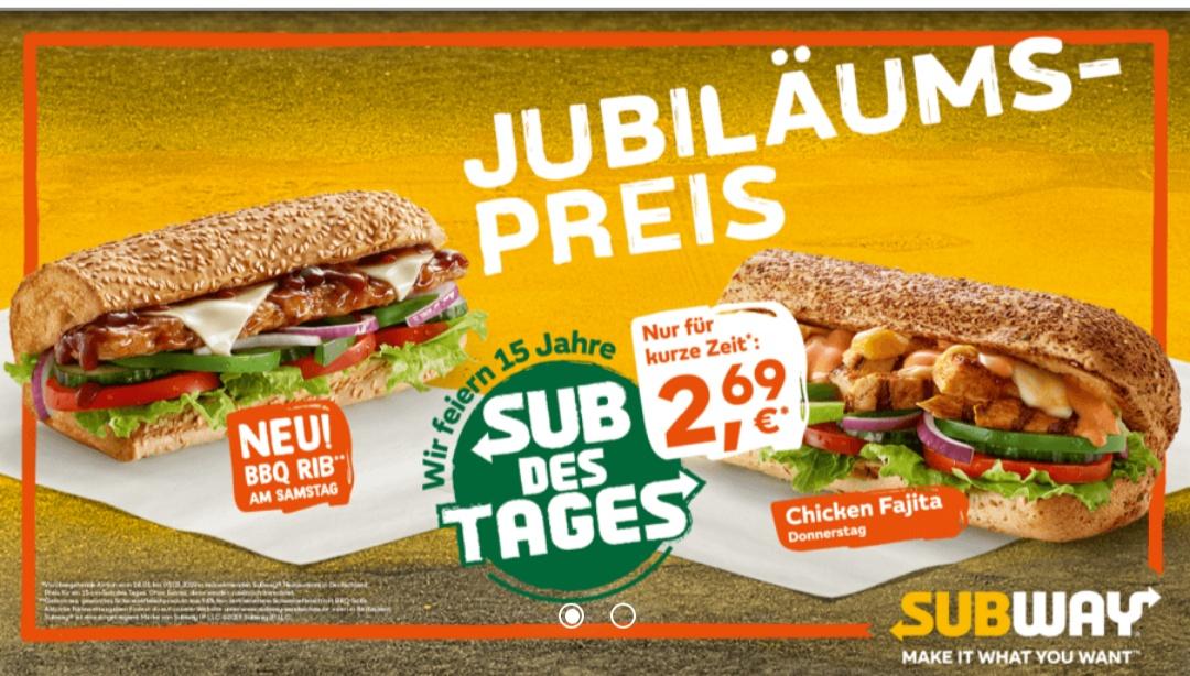 Subway - Sub des Tages 15cm jeweils für 2,69€ (im Menü 3,99€) / Samstags jetzt BBQ Rib