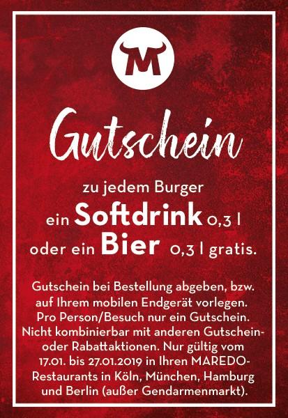 Bei MAREDO Bier oder Softdrink gratis zum Burger [Berlin] [Hamburg] [München] [Köln]
