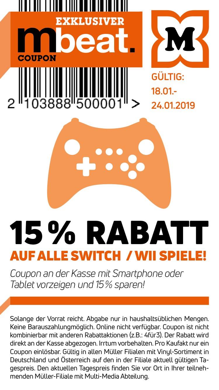 [Müller] 15% Rabatt auf alle Nintendo Switch/Wii Spiele bei Müller