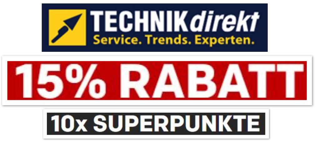 15% auf alles von TECHNIKDIREKT + 13-fache Superpunkte (Club) bei Rakuten ab 18.01.