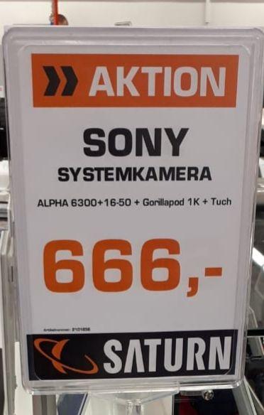 Sony Alpha 6300 + 16-50 + Gorillapod 1K + Tuch Saturn Lokal Kiel