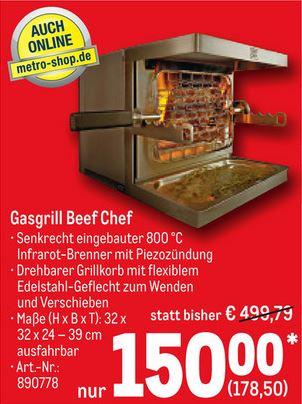 Beef Chef Infrarot Gasgrill, 800°C seitliche 180°-Rotisserie