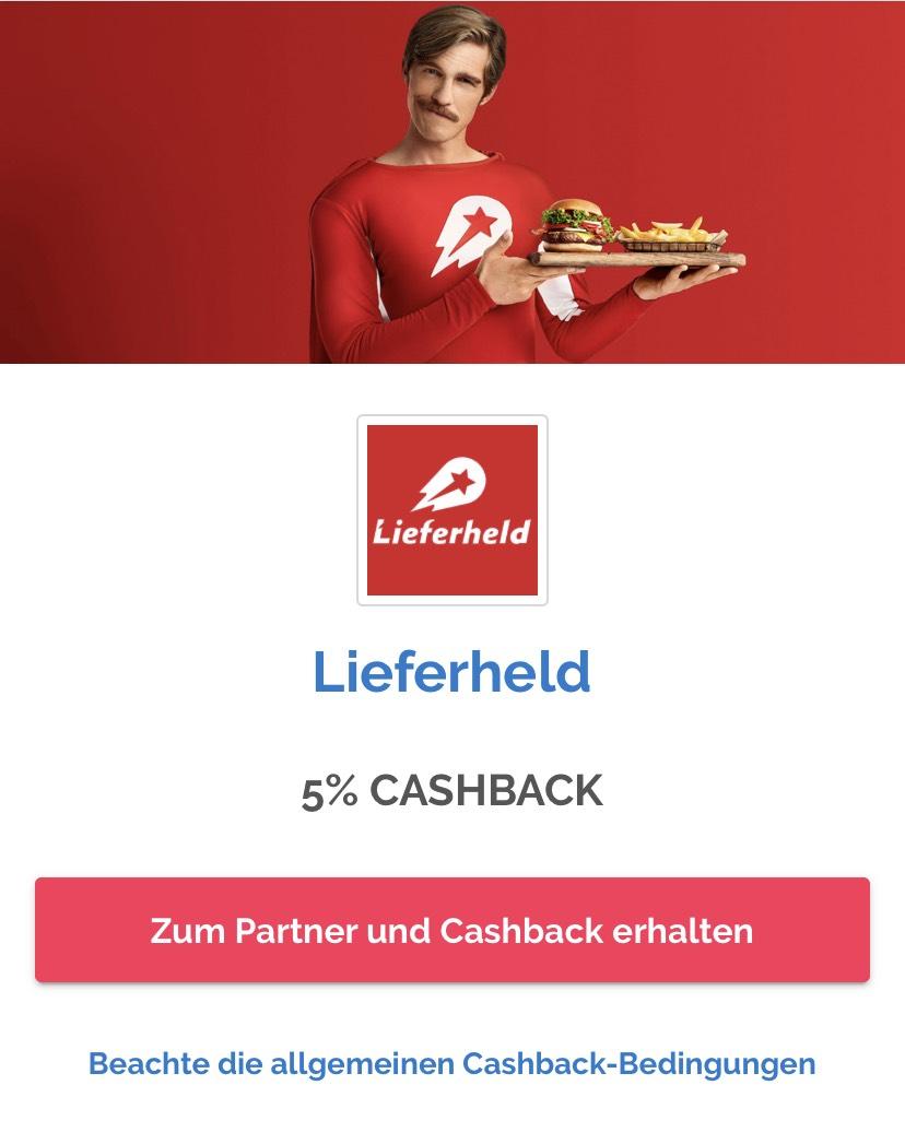 (Shoop) Lieferheld 5% Cashback + 5€ Gutschein