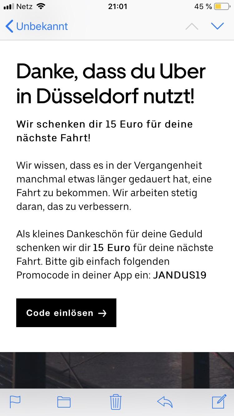 UBER 15€ Gutschein für Düsseldorf
