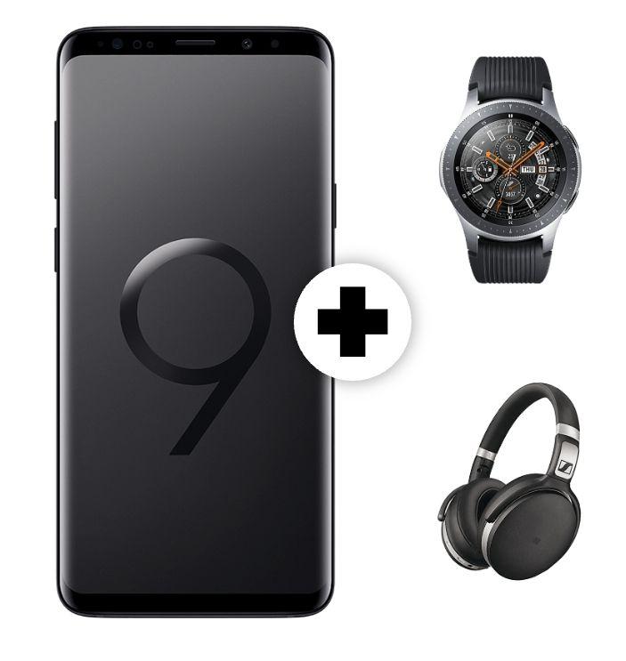SAMSUNGGalaxy S9+ Dual-SIM (64GB) & Samsung Galaxy Watch 46mm BT & Sennheiser HD 4.50 inkl. ALLNET-Flat 2GB (eff. kostenlos)