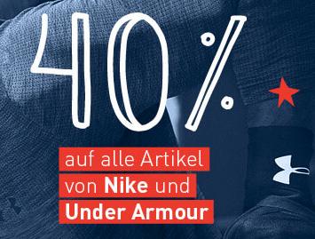 40% Rabatt auf alles von Nike & Under Armour + 8% Shoop + kostenloser Versand bei my-sportswear.de