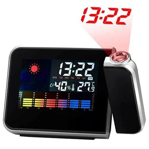 Digitaluhr mit Wandprojektion (Thermometer, Hygrometer, Wecker)