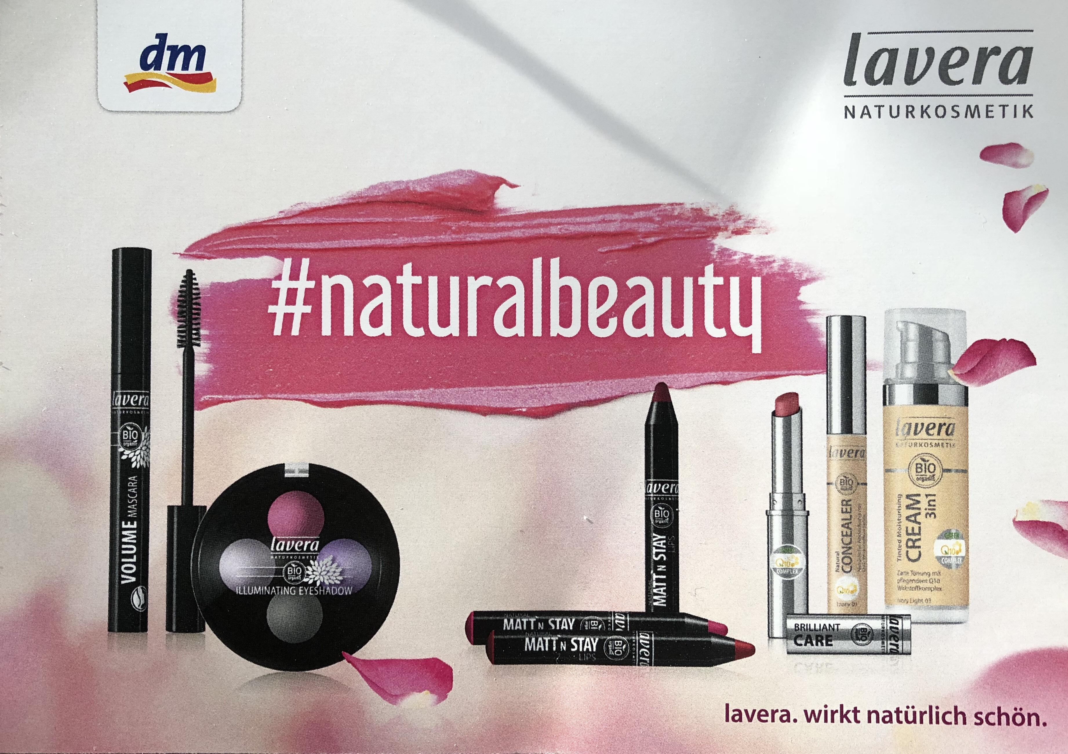 [dm und lavera] Gratis Kosmetiktasche beim Kauf von 2 Produkten der lavera dekorativen Kosmetik bei dm