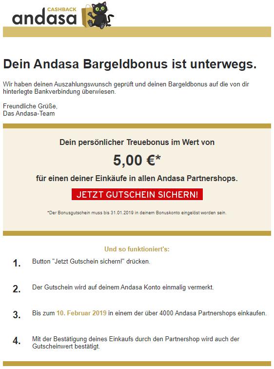 5€ Bonus bei Andasa (Voraussetzung 1 Kauf, z.B. 1€ Amazon-Gutschein bei eBay)