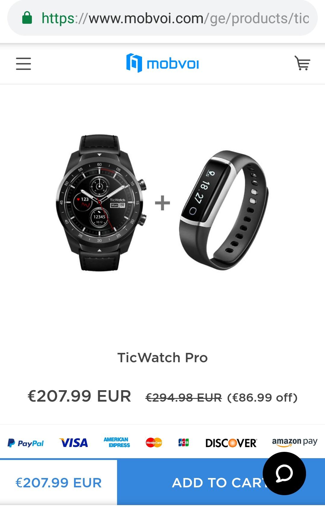 Ticwatch pro mit ticband bei mobvoi