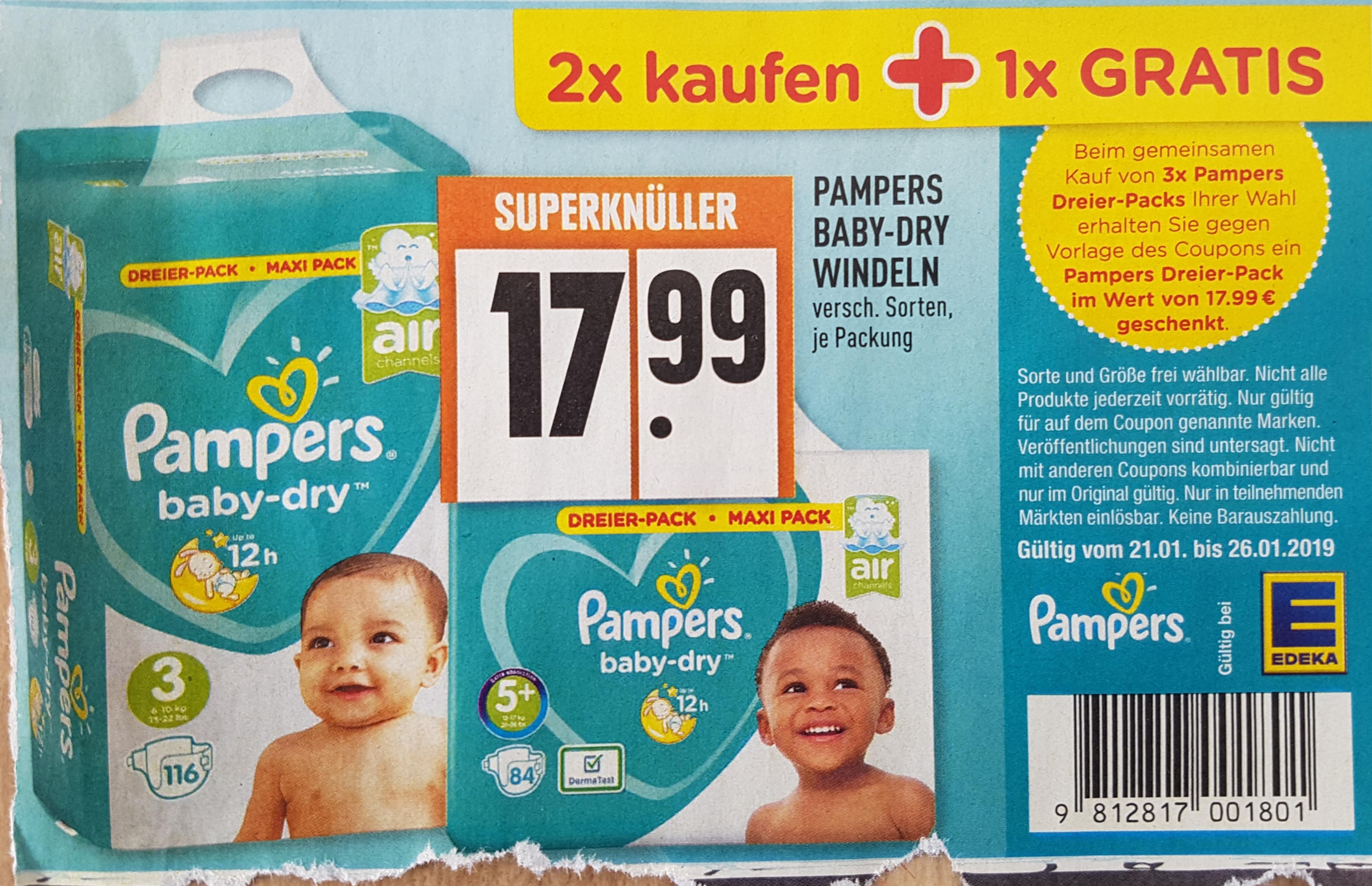 Pampers Baby-Dry 3 mal Dreierpack bei Edeka bundesweit