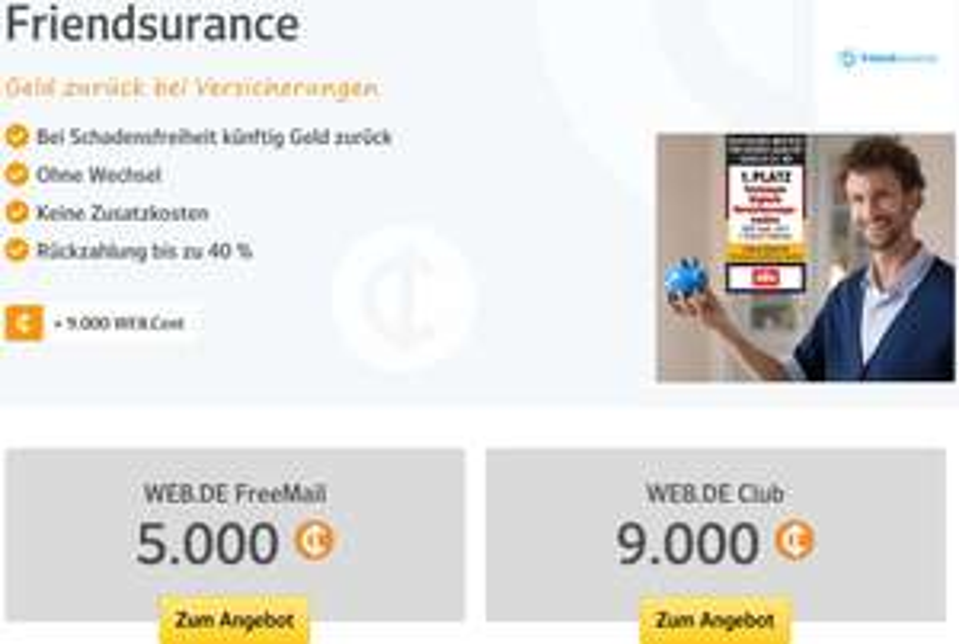 Friendsurance Neukunden: 90€ via web.de Club oder 50€ via Freemail (Web.Cents)