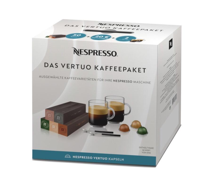 Nespresso Vertuo Kaffee Paket inkl. 20€ Gutschein + 2x Nespresso Vertuo Mug Tassen