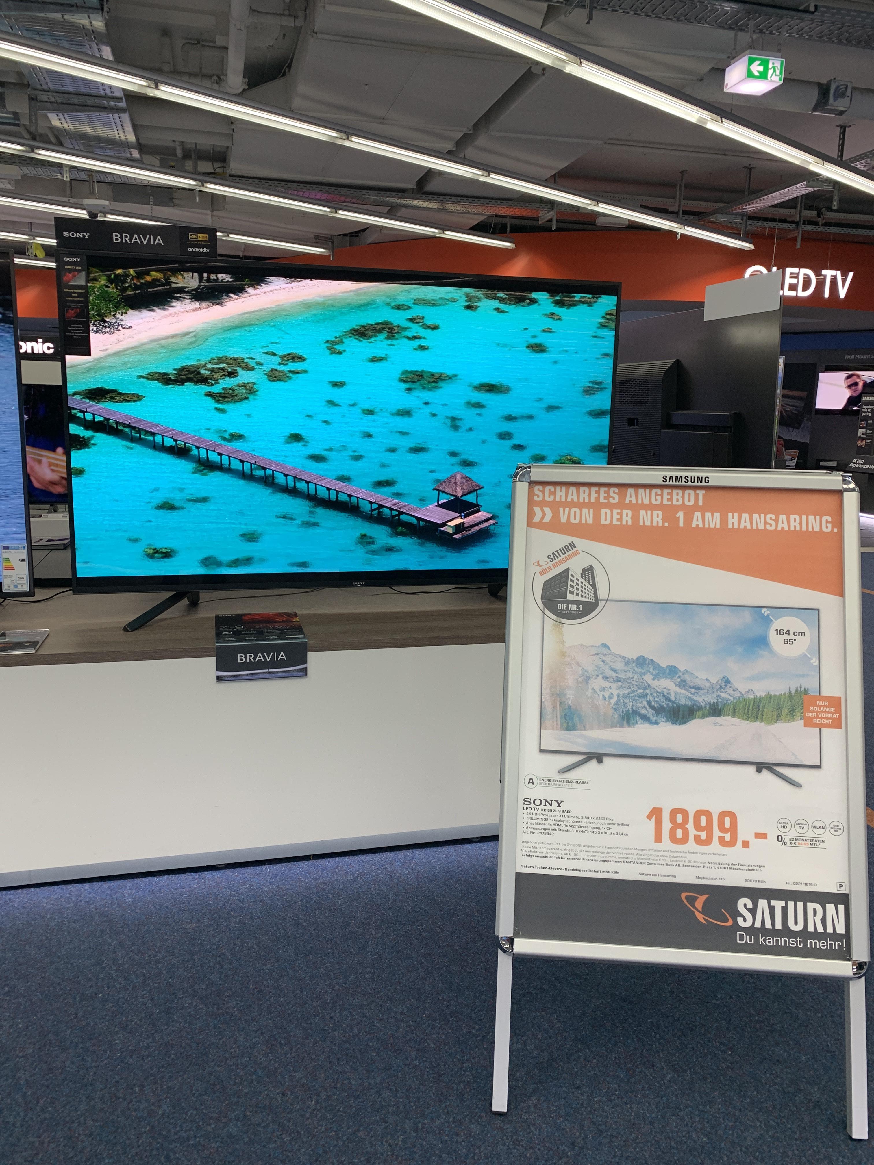 [lokal]Sony KD65ZF9 Direct LED / 1899€ / Saturn Köln Maybachstr.