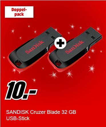 [Mediamarkt]  2 x SanDisk Cruzer Blade 32GB USB 2.0 USB-Stick für 10,-€